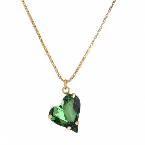 Big heart necklace Green emerald 17mm-25mm Krystal London Gold Plated Swarovski front on.jpg