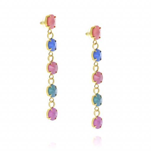 5 Tier rovoli earrings Red Blue Mix drops far krystal london far side on.jpg