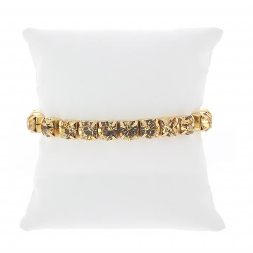 Topaz Gold plated bracelet krystal london swarovski single band cushion.jpg
