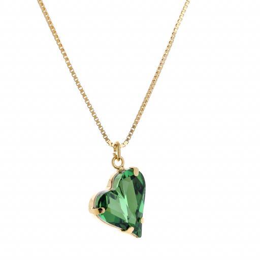 Big heart necklace Green emerald 17mm-25mm Krystal London Gold Plated Swarovski side on.jpg