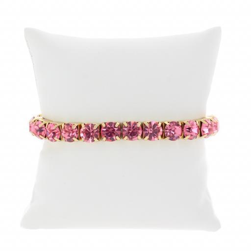 Fushia Gold plated bracelet krystal london swarovski single band.jpg
