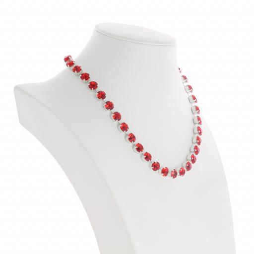 Bespoke Chunky Single strand swarovski crystal necklace Krystal  scarlet red far side on silver plated.jpg
