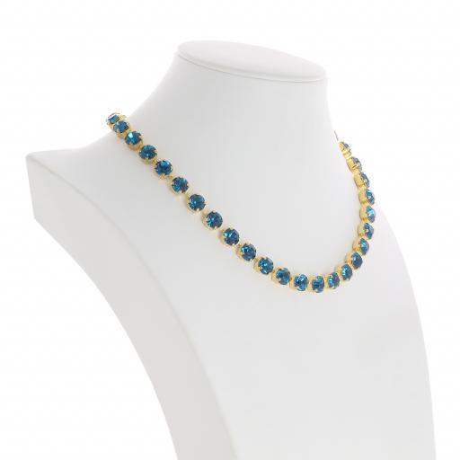 Bespoke Chunky Single strand swarovski crystal necklace Krystal  Blue Zurk far side on.jpg