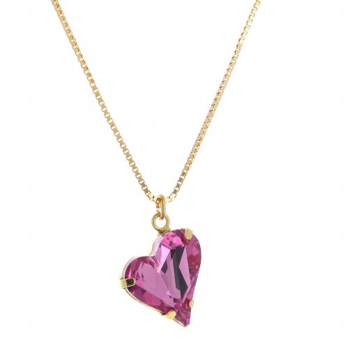 Big heart necklace pink 17mm-25mm Krystal London Gold Plated Swarovski side on.jpg