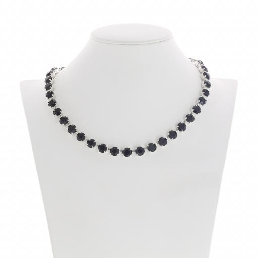 Bespoke Chunky Single strand swarovski crystal necklace Krystal jet black silver plated front on.jpg