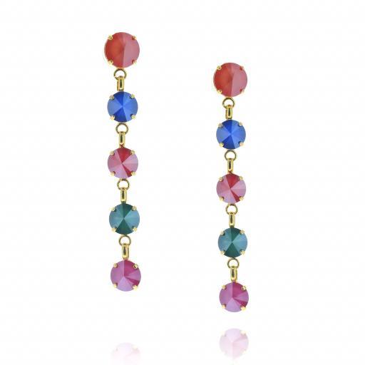 5 Tier rovoli earrings Red Blue Mix drops far krystal london front on.jpg