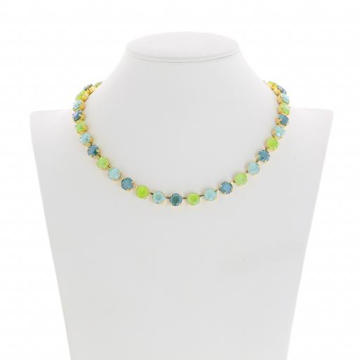 Bespoke Chunky Single strand swarovski crystal necklace Krystal  multi colour mix front on.jpg