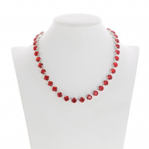 Bespoke Chunky Single strand swarovski crystal necklace Krystal  scarlet red Front on silver plated.jpg
