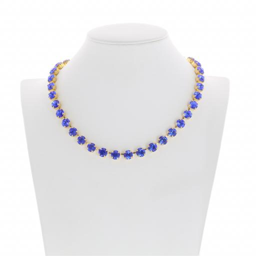 Bespoke Chunky Single strand swarovski crystal necklace Krystal Sapphire front on.jpg