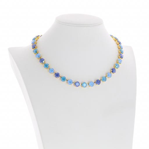 Bespoke Chunky Single strand swarovski crystal necklace Krystal Blue multi colour mix side on.jpg