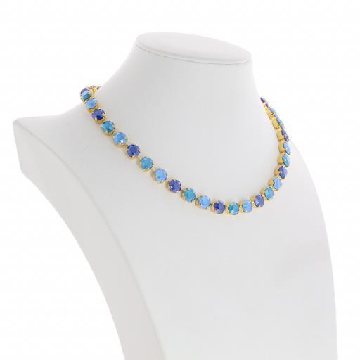 Bespoke Chunky Single strand swarovski crystal necklace Krystal Blue multi colour mix far side on.jpg