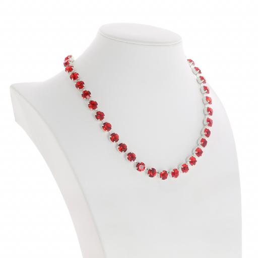 Bespoke Chunky Single strand swarovski crystal necklace Krystal  scarlet red side on silver plated.jpg