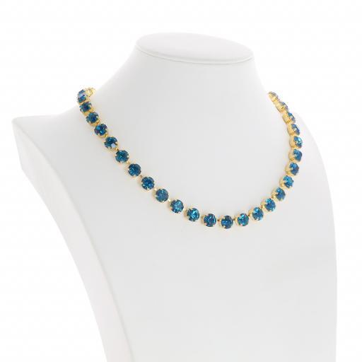 Bespoke Chunky Single strand swarovski crystal necklace Krystal Blue Zurk side on.jpg