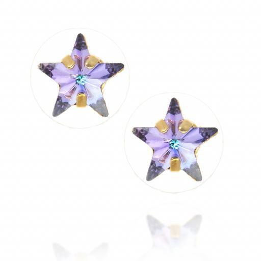 smalll star purple rainbow earrings Krystal London Gold Plated Swarovski front on.jpg
