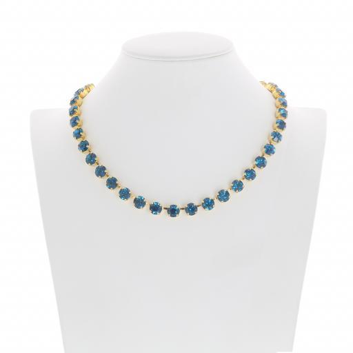Bespoke Chunky Single strand swarovski crystal necklace Krystal Blue Zurk front on.jpg