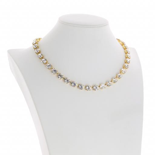Bespoke Chunky Single strand swarovski crystal necklace Krystal Crystal Clear side on.jpg