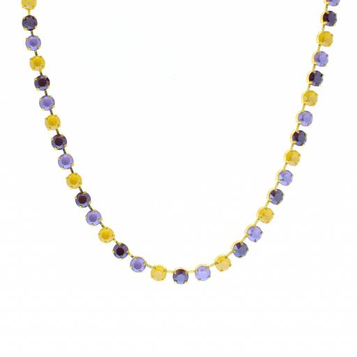 Bespoke Chunky Single strand swarovski crystal necklace Krystal  yellow purple necklace only.jpg