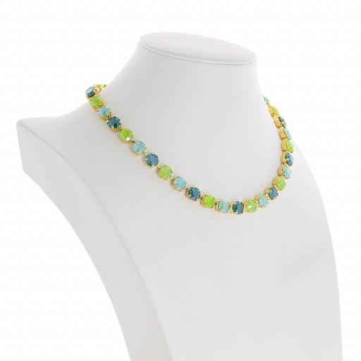 Bespoke Chunky Single strand swarovski crystal necklace Krystal  multi colour mix far side on.jpg