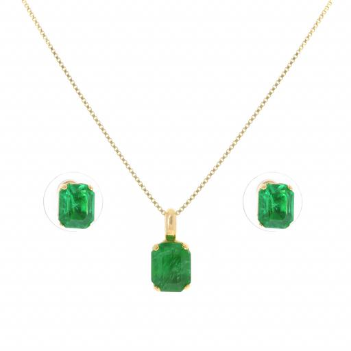rough Emerald crystal set necklace and earrings krystal london gold plated front on.jpg