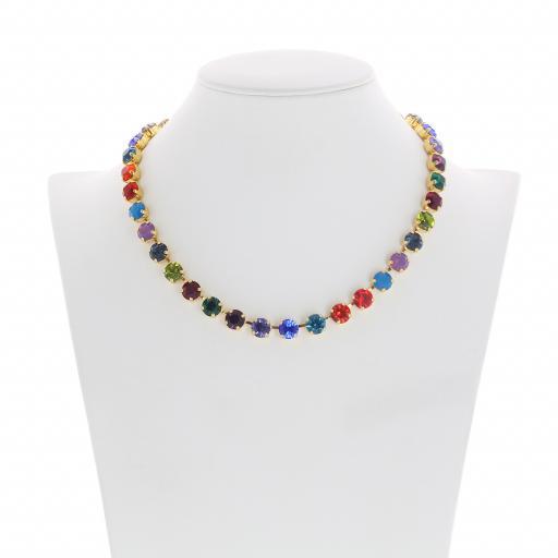 Bespoke Chunky Single strand swarovski crystal necklace Krystal  multi colour mix Front on.jpg