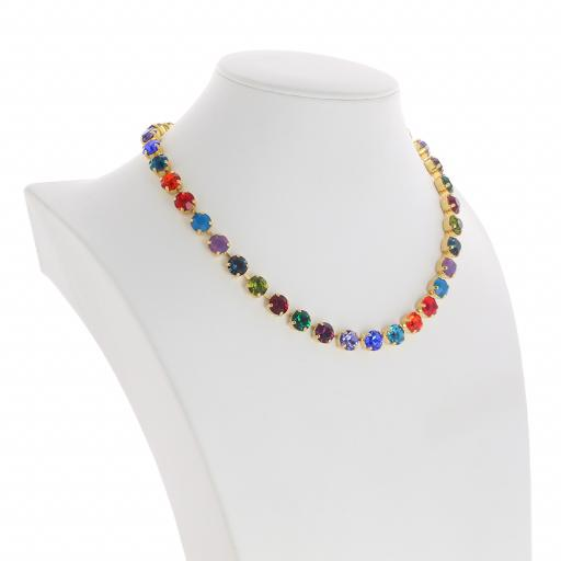 Bespoke Chunky Single strand swarovski crystal necklace Krystal  multi colour mix far side on.jpg