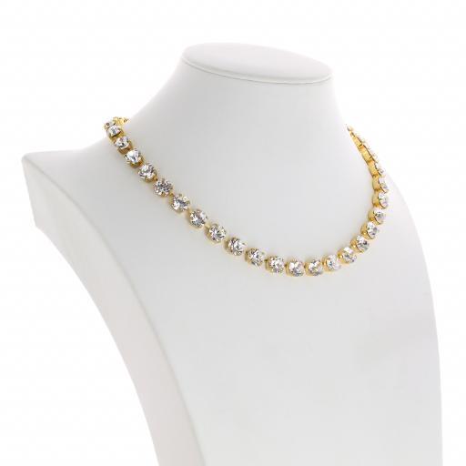 Bespoke Chunky Single strand swarovski crystal necklace Krystal Crystal Clear far side on.jpg