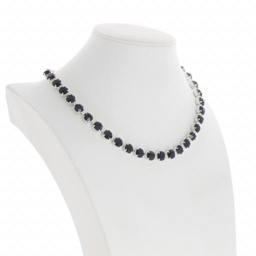 Bespoke Chunky Single strand swarovski crystal necklace Krystal jet black silver plated far side on.jpg