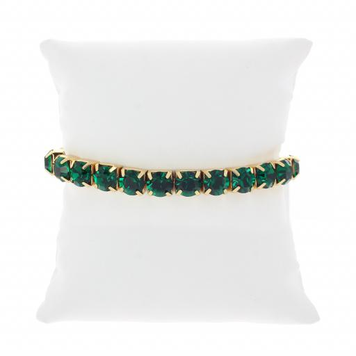 Emeral Gold plated bracelet krystal london swarovski single band cushion.jpg