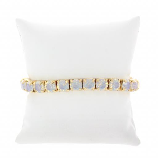 White opal Gold plated bracelet krystal london swarovski single band cushion shot.jpg