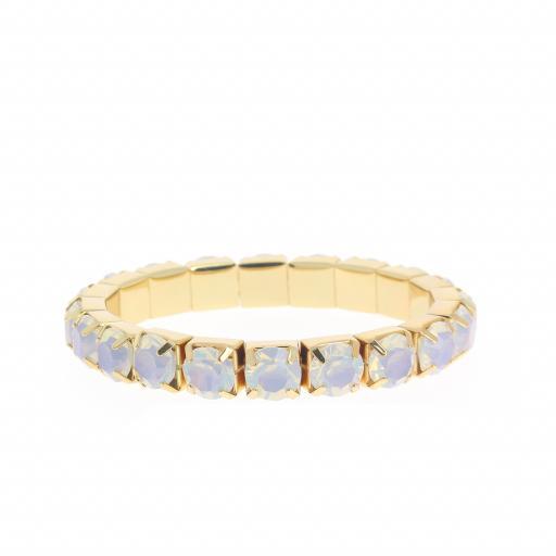 White opal Gold plated bracelet krystal london swarovski single band front on.jpg