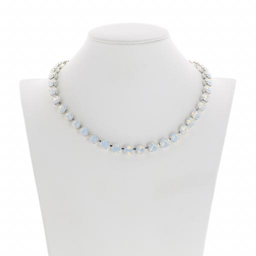 Bespoke Chunky Single strand swarovski crystal necklace Krystal White Opal silver plate front on.jpg