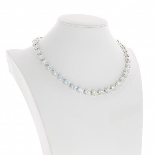 Bespoke Chunky Single strand swarovski crystal necklace Krystal White Opal silver plate side on.jpg