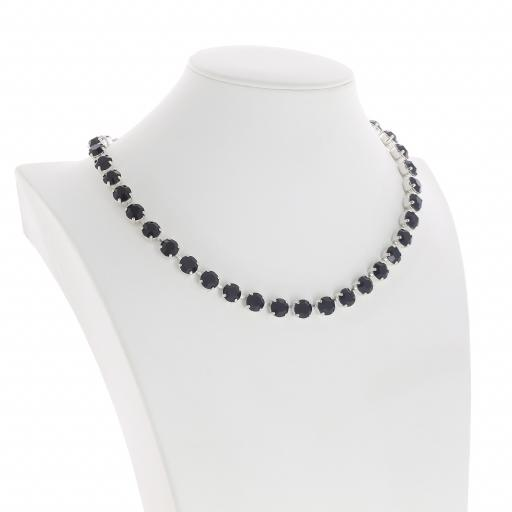 Bespoke Chunky Single strand swarovski crystal necklace Krystal jet black silver plated side on.jpg