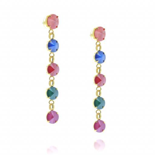 5 Tier rovoli earrings Red Blue Mix drops far krystal london side on.jpg