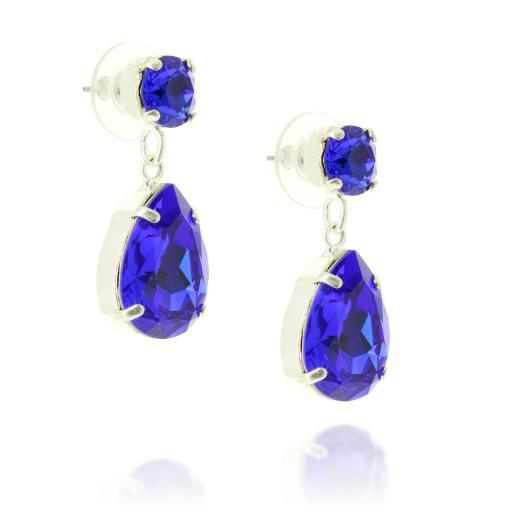 majestic blue silver plated krystal london mini angelina earrings far side on.jpg
