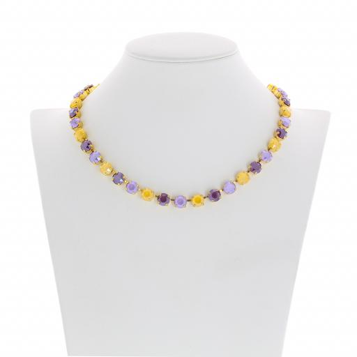 Bespoke Chunky Single strand swarovski crystal necklace Krystal  yellow purple front on.jpg