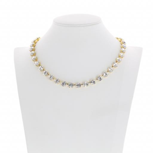 Bespoke Chunky Single strand swarovski crystal necklace Krystal Crystal Clear front on.jpg