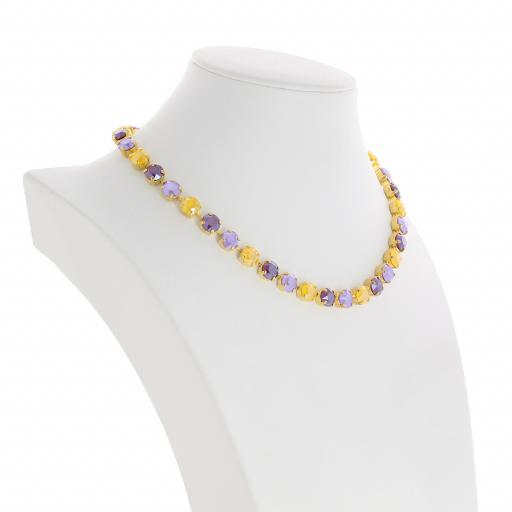 Bespoke Chunky Single strand swarovski crystal necklace Krystal  yellow purple far side on.jpg
