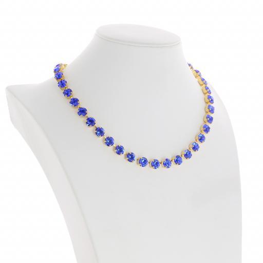 Bespoke Chunky Single strand swarovski crystal necklace Krystal Sapphire side on.jpg