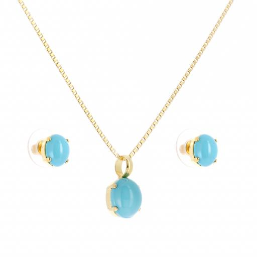 Turquoise Pearl crystal set necklace and earrings krystal london gold plated side on.jpg