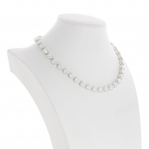 Bespoke Chunky Single strand swarovski crystal necklace Krystal White Opal silver plate far side on.jpg