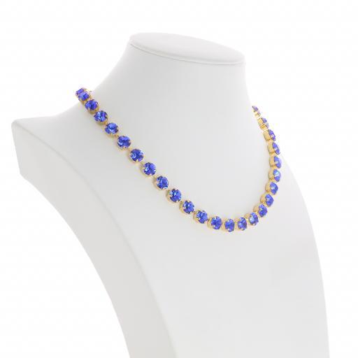 Bespoke Chunky Single strand swarovski crystal necklace Krystal Sapphire far side on.jpg