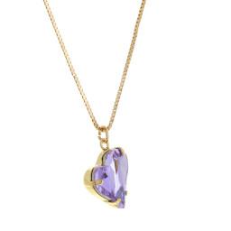 Big heart necklace purple 17mm-25mm Krystal London Gold Plated Swarovski far side on.jpg