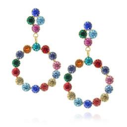 long dangle drop circular multi coloured earrings krystal london front on.jpg