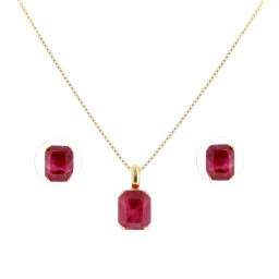 rough Emerald crystal set necklace and earrings krystal london gold plated side on.jpg