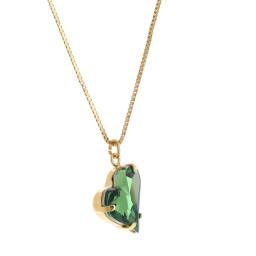 Big heart necklace Green emerald 17mm-25mm Krystal London Gold Plated Swarovski far side on.jpg