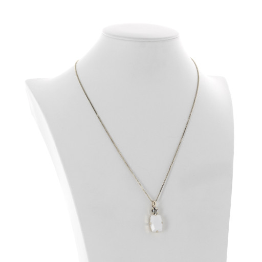 valentina square rectangle necklace white chalk  krystal london swarovski side on Silver Plated.jpg