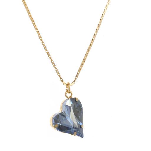 Big heart necklace blue 17mm-25mm Krystal London Gold Plated Swarovski side on.jpg