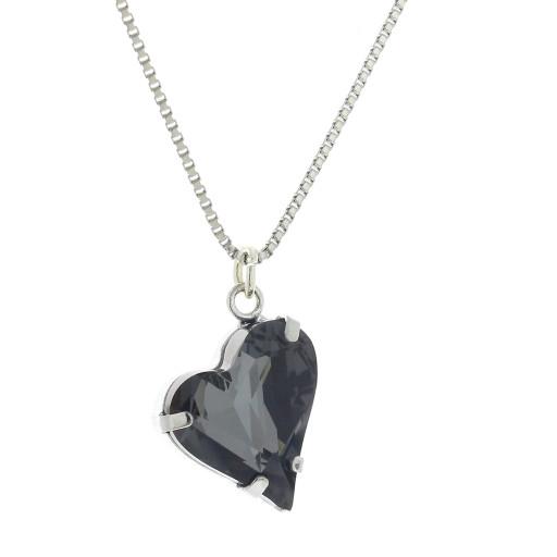 Big heart necklace black 17mm-25mm Krystal London Gold Plated Swarovski 2.jpg