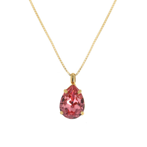 peach Rose  Necklace-Crystal Swarvoski pendant.jpg